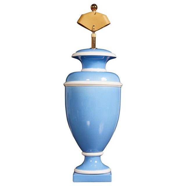 Metal Vintage Italian Ceramic Urn Lamp in Blue and White For Sale - Image 7 of 7
