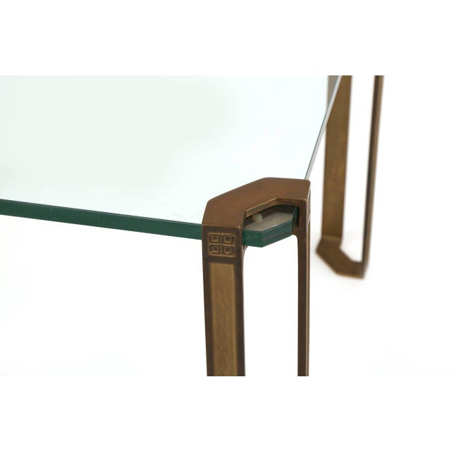 Mid-Century Modern Bronze and Glass Table by Peter Ghyczy For Sale - Image 3 of 7