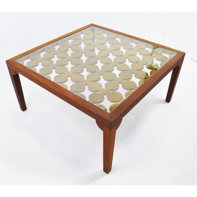 Parzinger Style Classy 50's Mahogany & Giltwood Grille Coffee Table - Image 5 of 13