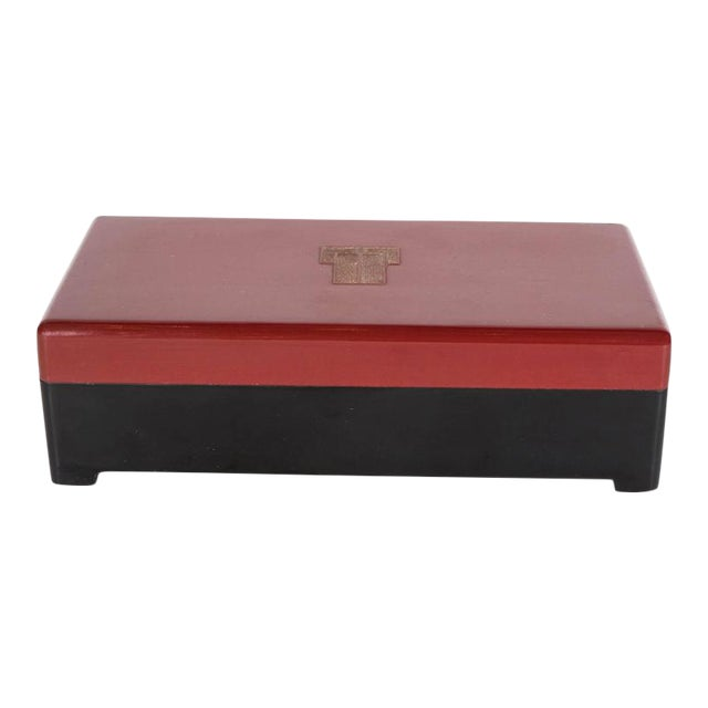 Streamlined Art Deco Bakelite Box with Burgundy Top with Cubist Detail For Sale