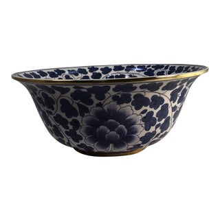 Blue and White Porcelain Bowl With Brass Accents For Sale