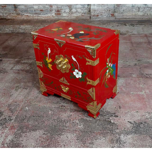 Asian Chinese Beautiful Red Lacquered Commodes -A Pair For Sale - Image 3 of 11