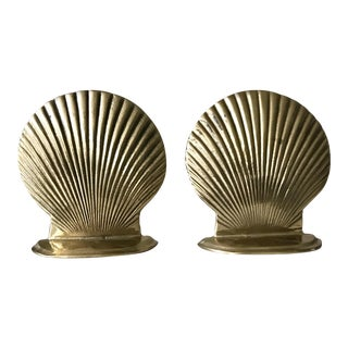 Vintage Solid Brass Scallop Shell Nautical Decor Bookends - a Pair