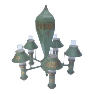 Green and Gold Painted Tole Chandelier For Sale