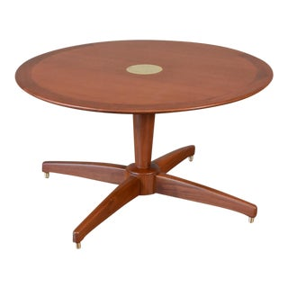 Round Mahogany and Brass Coffee Table For Sale