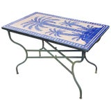 Image of Moroccan Rectangular Blue Tree of Life Mosaic Dining Table For Sale