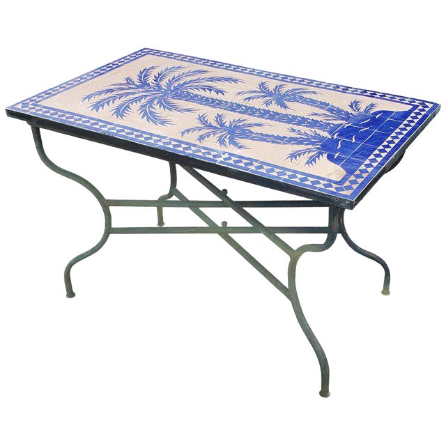 Moroccan Rectangular Blue Tree Of Life Mosaic Dining Table