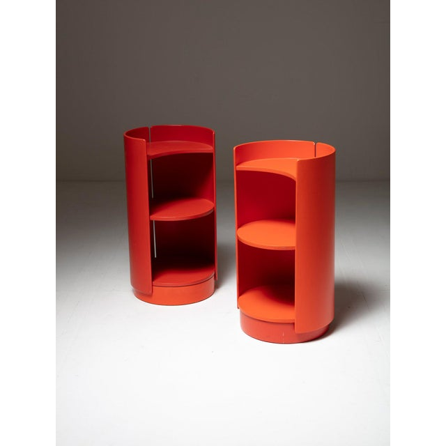 """Set of two """"Torriana"""" bookcases by Kazuhide Takahama for Gavina. Lean but still very capable revolving plywood pieces."""