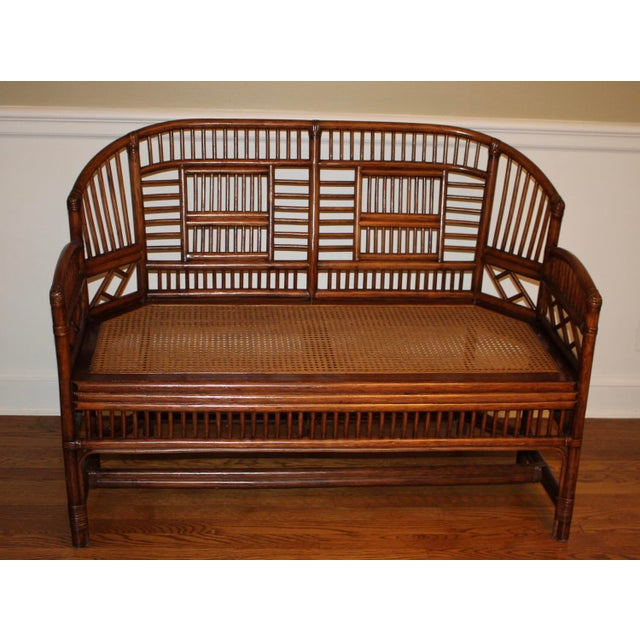 Vintage Mid Century Bamboo Rattan Pavilion Brighton Chinoiserie Chippendale Settee For Sale - Image 13 of 13