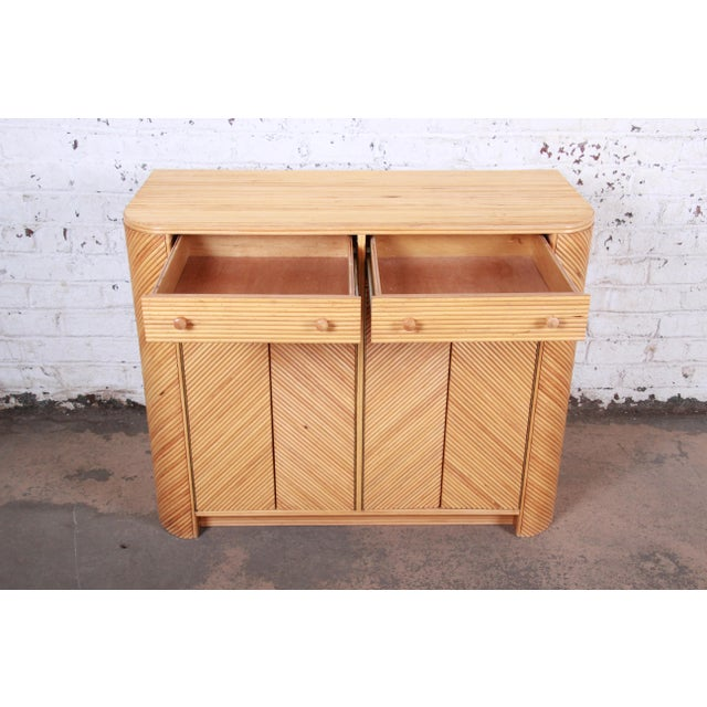 Wood Gabriella Crespi Style Split Reed Rattan Sideboard Cabinet For Sale - Image 7 of 13