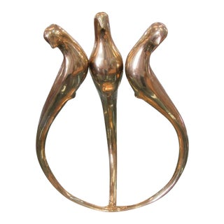 1970s Mid Century Modern Brass Bird Sculpture For Sale
