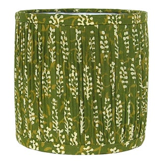 Green Block Print Gathered Sconce or Chandelier Shade Preview