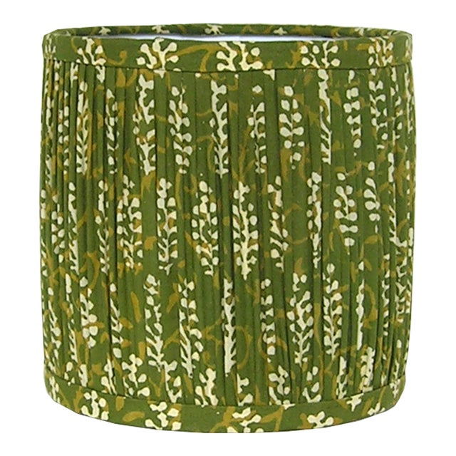 DETAILS: - New, handcrafted, gathered sconce or chandelier shade - Fabric: Indian block print cotton fabric with a fern...