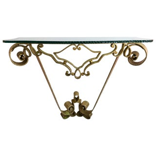 Italian Console Wrought Iron Gold Leaf by Pier Luigi Colli For Sale