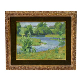1915 Impressionist Landscape Painting with Stream by Albert Herman Schmidt For Sale