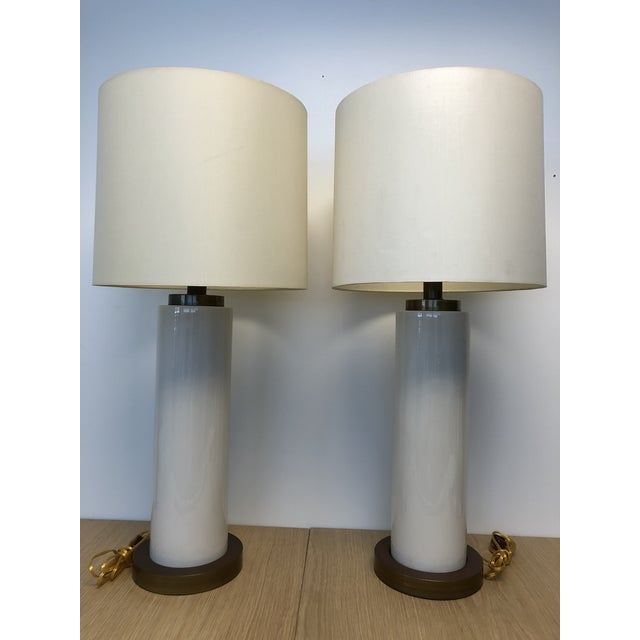 Vintage Ceramic Center and Metal Base and Top Table Lamps with Original Silk Shade - a Pair For Sale - Image 9 of 9
