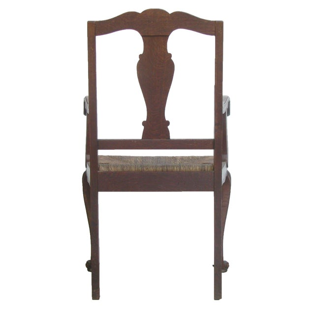 Adirondack English Arts & Crafts Rush Seat Arm Chair For Sale - Image 3 of 9