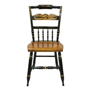 Mid 20th Century Vintage L. Hitchcock Eagle Paint Decorated Stenciled Black Maple Side Chair For Sale