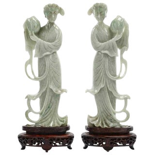Pair of Chinese Carved Jade Maidens For Sale