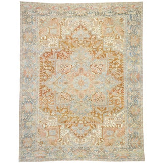 Antique Persian Heriz Style Rug - 9′4″ × 11′11″ For Sale