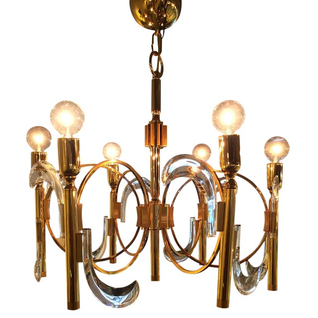Gaetano Sciolari Lucite and Brass Chandelier - Image 1 of 6