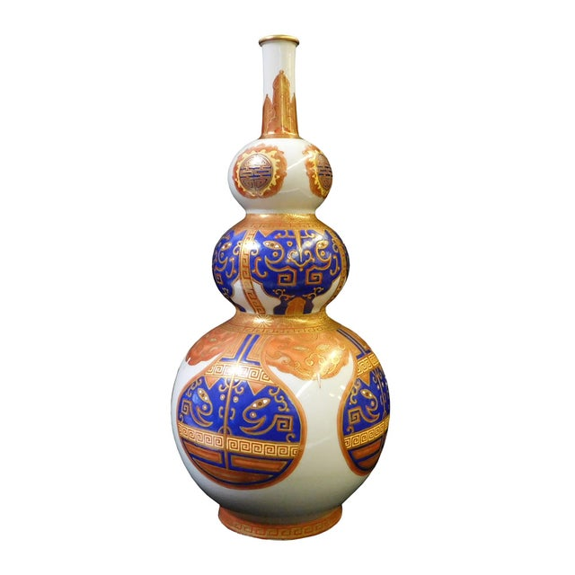 Blue and Gold Chinese Gourd Shape Vase For Sale - Image 4 of 7