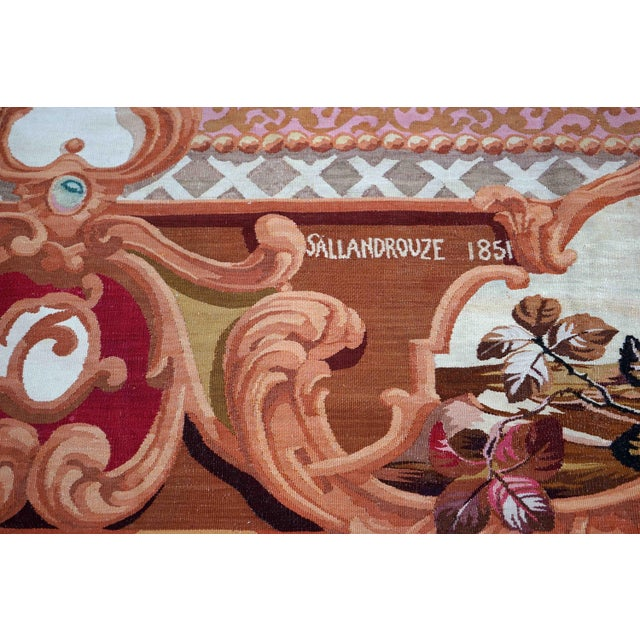 1851 Handwoven Antique Sallandrouze Aubusson Rug, Exceptional Condition & Signed For Sale - Image 4 of 9
