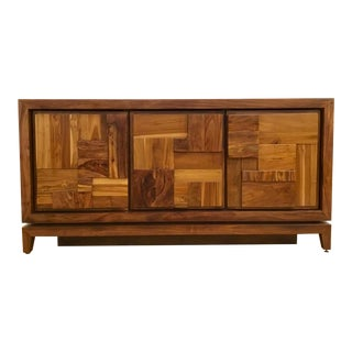 Brutalist Style Global Views Building Block Walnut Finished Wood Media Cabinet For Sale