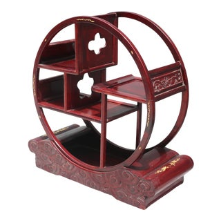 """Vintage 25"""" Table Top Cherry Wood Curio Etagere With Mother-Of-Pearl Inlay For Sale"""