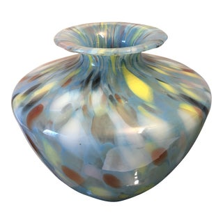 Contemporary Hand Blown Art Glass End of Day Vase For Sale
