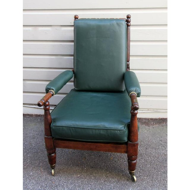 Early 19th Century English Mahogany Bobbin Turned Library Chair with Casters For Sale - Image 4 of 5