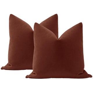 """22"""" Rouge Mohair Pillows - a Pair"""