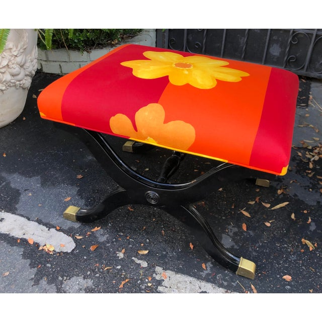 Art Deco Vintage French Art Deco X Bench W Marimekko Seat For Sale - Image 3 of 6