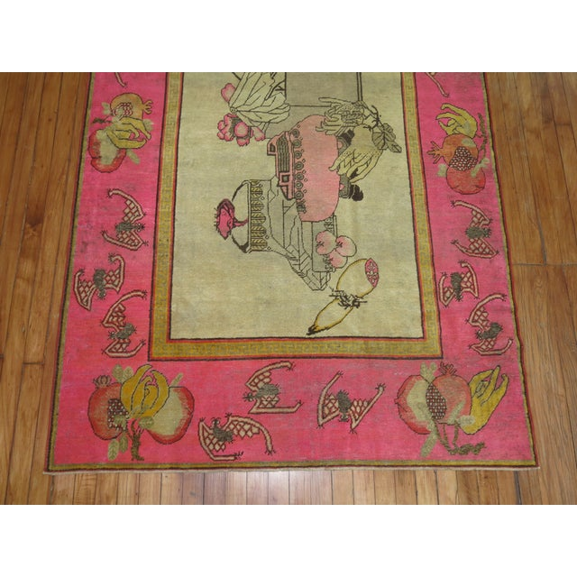Bright Pink Boho Chic 19th Century Khotan Rug, 4'6'' x 6'10'' For Sale In New York - Image 6 of 9