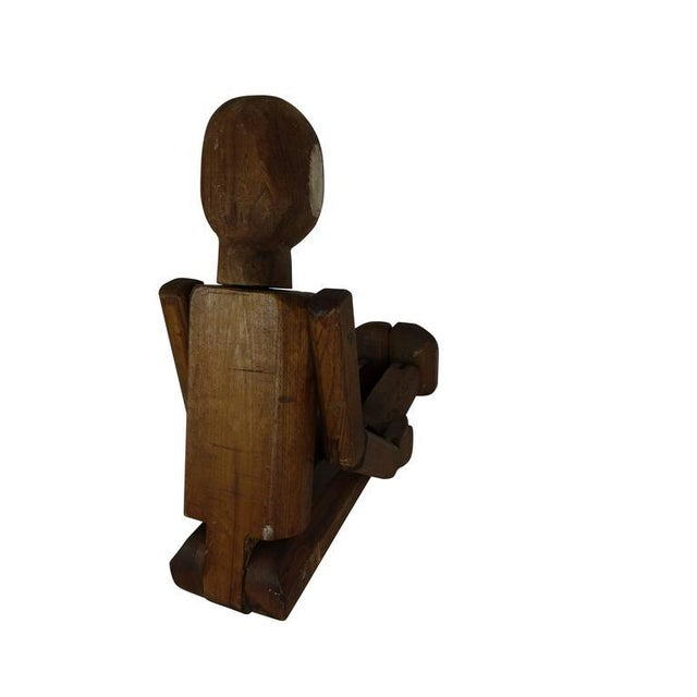 Wood Folk Art Articulating Man From France, Circa 1940 For Sale - Image 7 of 7