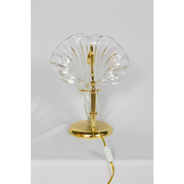 Murano Italian Blown Glass and Gold Sculptural Lamp For Sale - Image 4 of 5