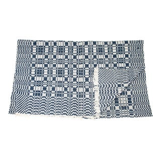 1860s Vintage Blue & White Coverlet For Sale