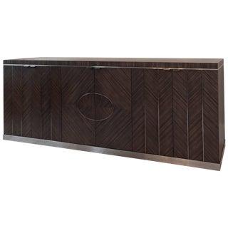 Modern Zebrano Veneered Cabinet, Black Metal Inlay, Dark Veneer Hardwood, 2017 For Sale
