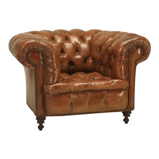 Original Leather Antique Chesterfield Chair For Sale