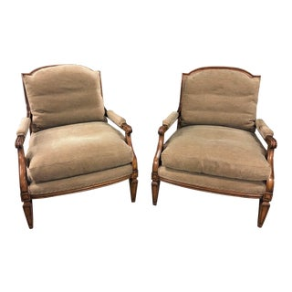 Pair of Signed William Switzer French Provincial Bergere Arm Chairs For Sale