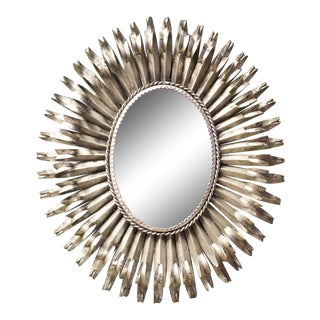 Mid-Century Silver Gilt Metal Sunburst Wall Mirror For Sale
