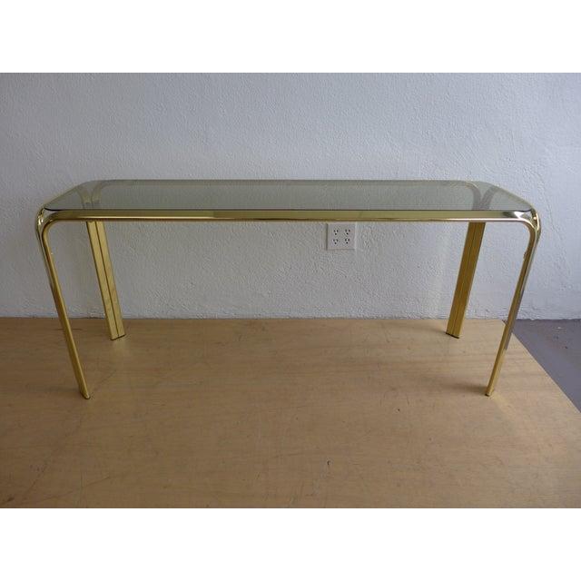 Smoked Glass Brass Console Table For Sale - Image 5 of 8