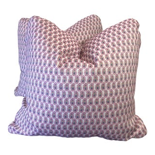"Robert Allen ""Small Paisley"" in Fuschia 22"" Pillows-A Pair For Sale"