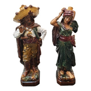 Early 20th Century Austrian Cold Painted Terracotta Spanish Man and Woman Statues - a Pair For Sale