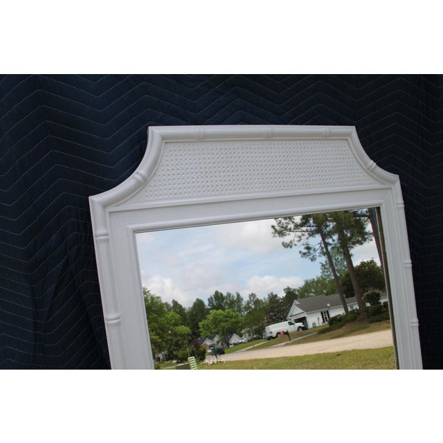 Asian Thomasville White Faux Bamboo Wall Mirror For Sale - Image 3 of 5