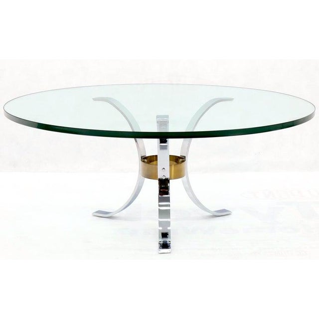 "Heavy Thick 3/4"" Glass Round Top Chrome & Brass Tripod Base Coffee Table For Sale - Image 4 of 12"