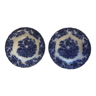 19th Century Chinoiserie Staffordshire Flow Blue Bowls by Copeland - a Pair For Sale