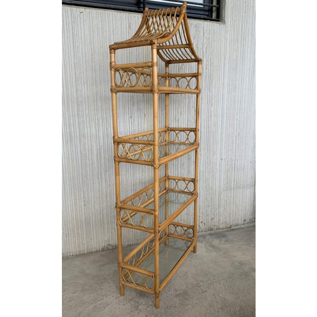 20th Midcentury Bamboo and Glass Étagère, Pagoda Style. Four Shelves For Sale - Image 4 of 7