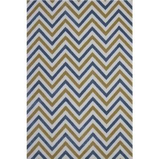 Chevron Blue Yellow Rug 5'3''x 7'7''