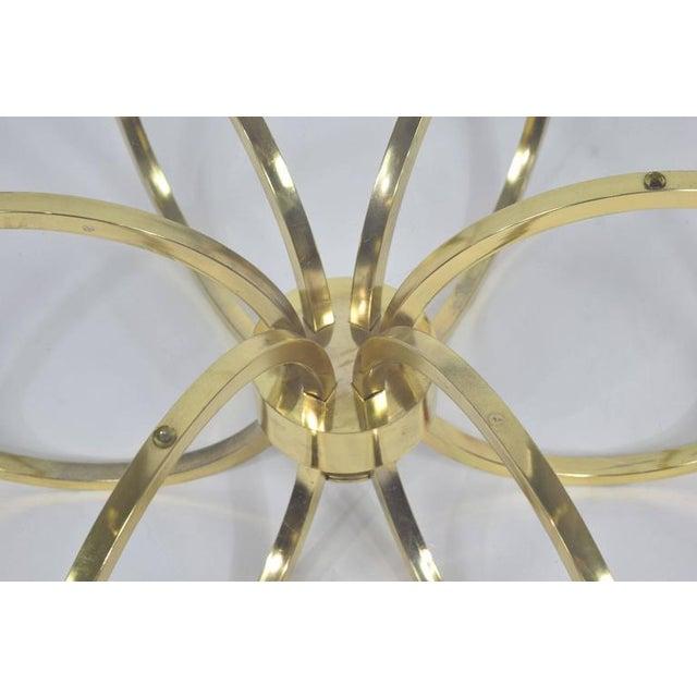 Milo Baughman Style Brass Finish Coffee Table - Image 4 of 6